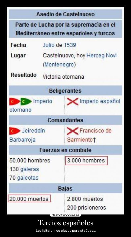 Tercios Españoles Desmotivaciones