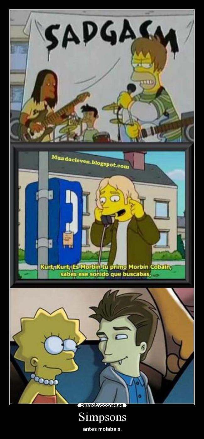 carteles simpsons kurt cobain nirvana simpson robert pattinson edward cullen etiqueta desmotivaciones