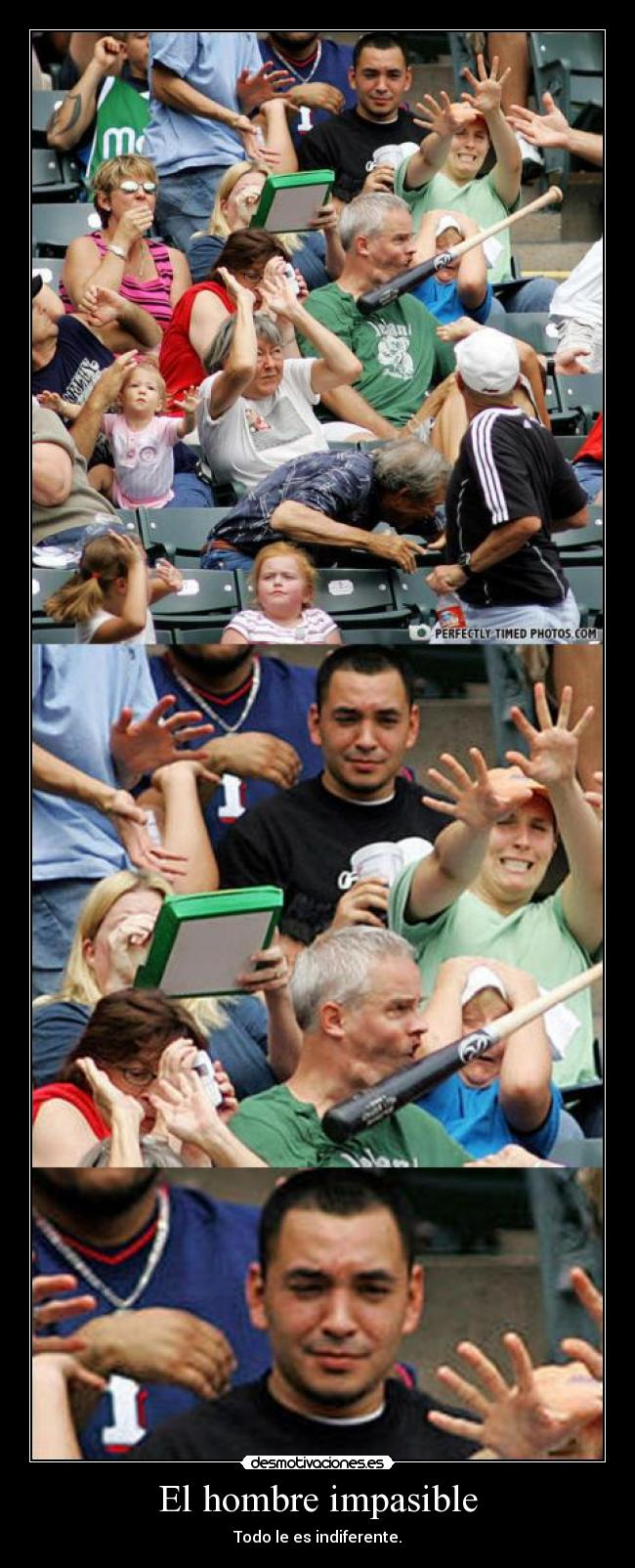 carteles hombre impasible indiferencia bate baseball desmotivaciones