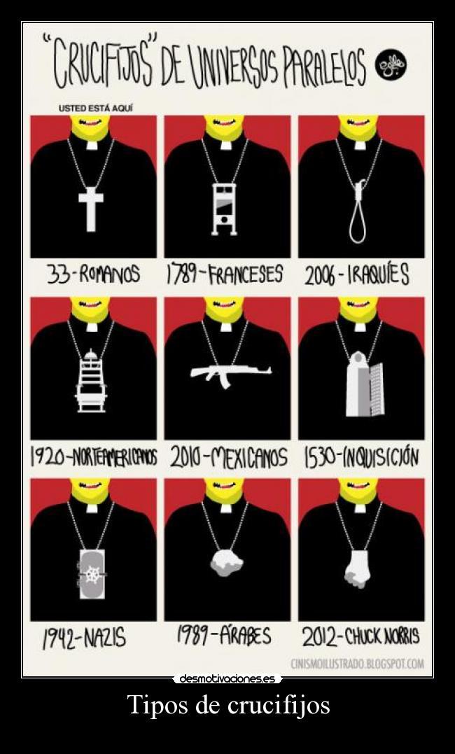 carteles crucifijos nazis arabes chuck norris norteamericanos mexicanos inquisicion romanos franceses iraqu desmotivaciones