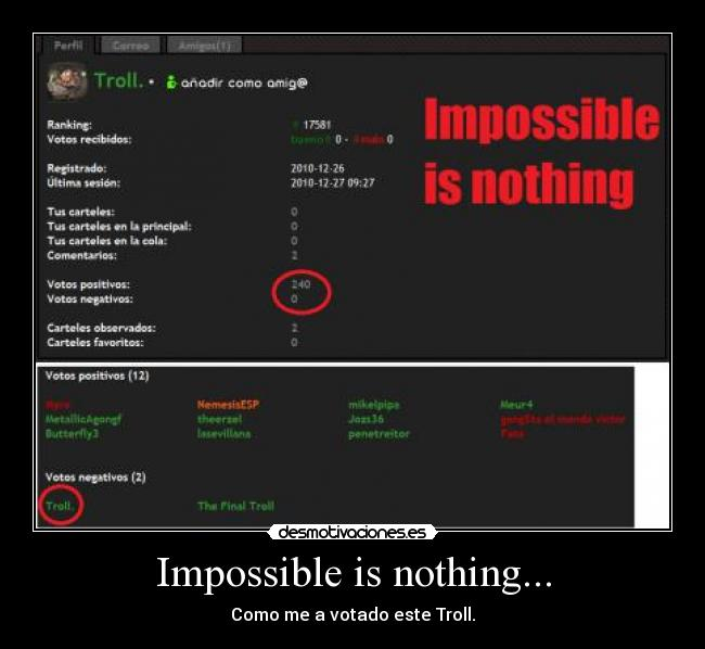 Impossible is nothing... - Como me a votado este Troll.