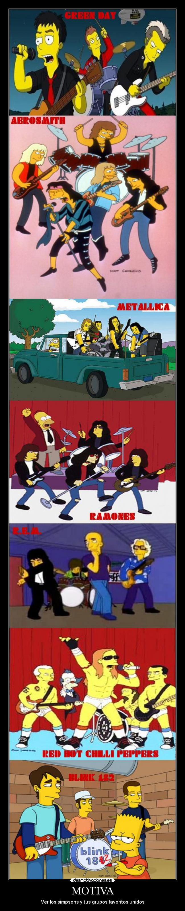 carteles motiva simpsons green day metallica rem aerosmith blink 182 ramones red hot chilli peppers desmotivaciones