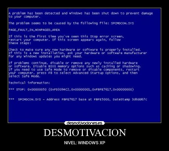 DESMOTIVACION - NIVEL: WINDOWS XP