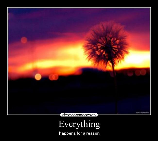 Everything - happens for a reason