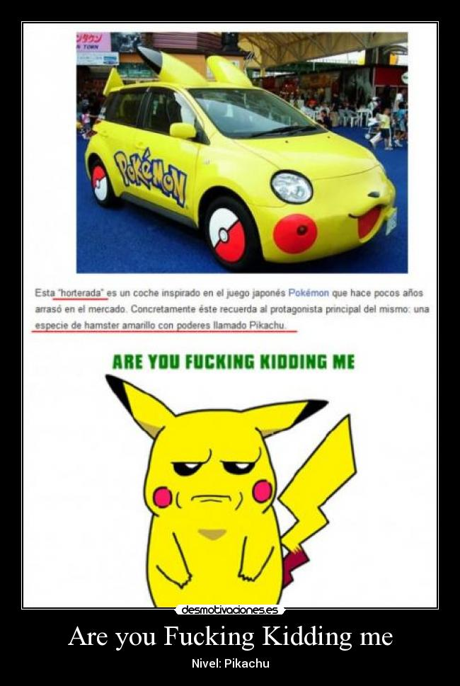 Are you Fucking Kidding me - Nivel: Pikachu