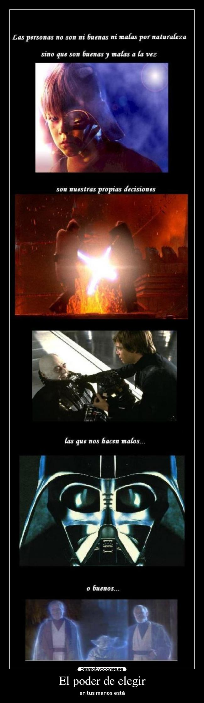 carteles darth vader anakin star wars decision desmotivaciones