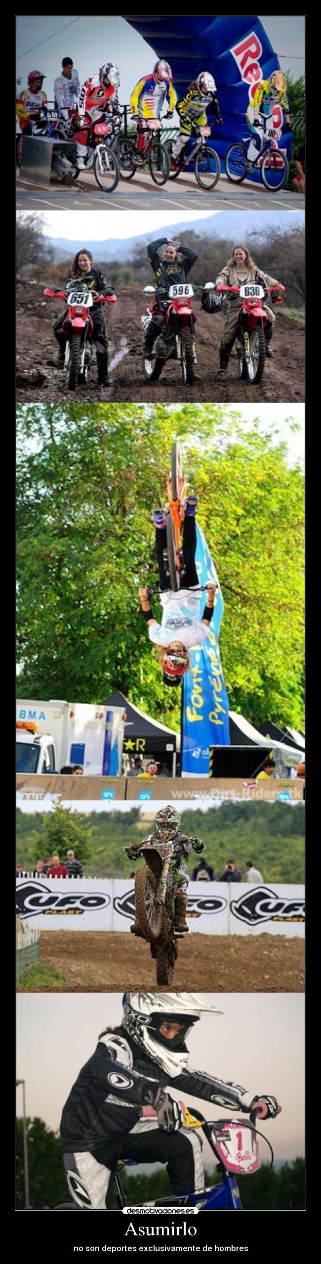 carteles no solo hombres bmx motocross girls chicas feminas downhill descenso dirt jumps desmotivaciones