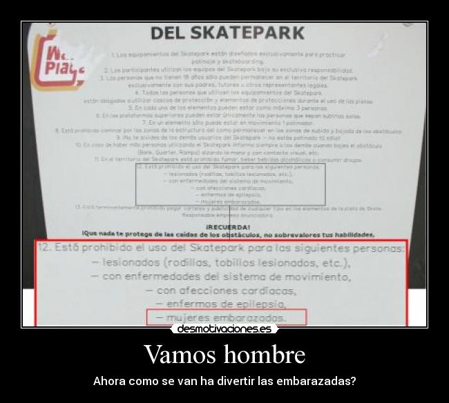 carteles embarazadas skatepark desmotivaciones