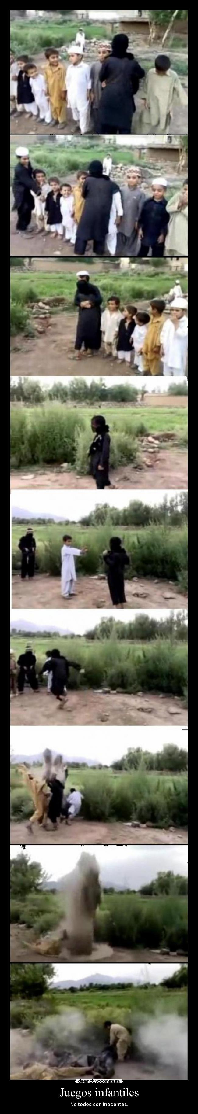 carteles juegos infantiles inocentes zorra implakable pakistan bomba desmotivaciones
