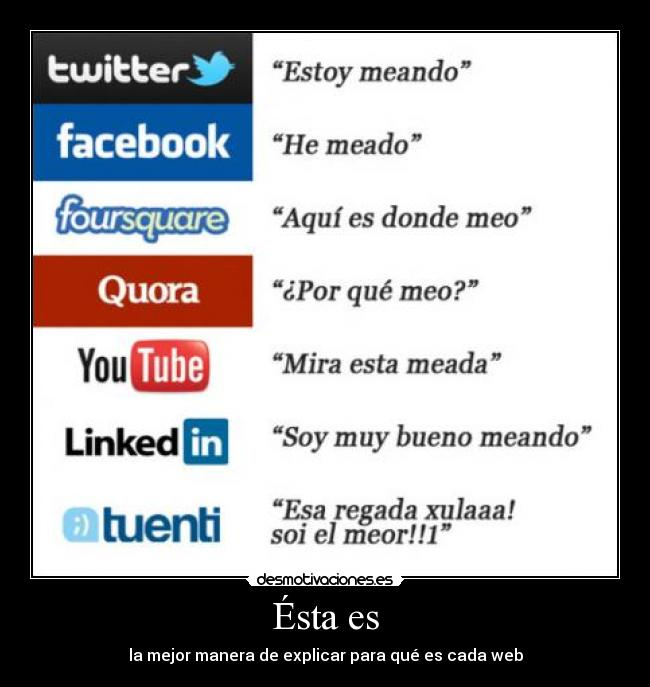 carteles tuenti facebook youtube twitter quora linked in foursquare funcion desmotivaciones