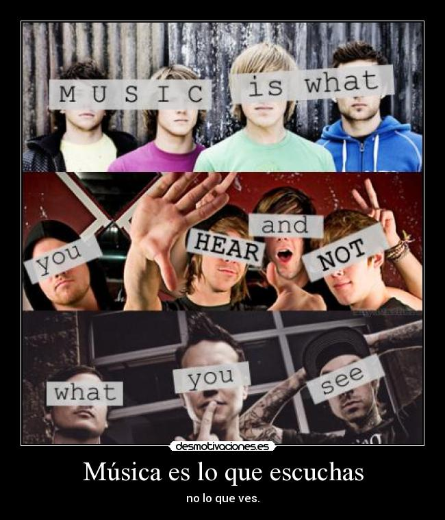 carteles musica musica blink 182 all time low mcfly asdfg hear see desmotivaciones