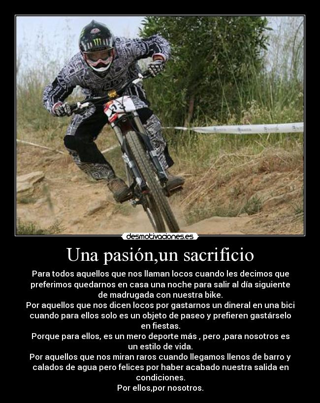 carteles bike downhill sam hill descenso una pasion sacrifio desmotivaciones