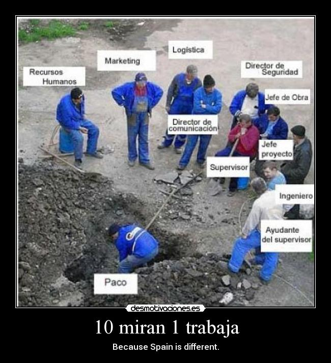 10 miran 1 trabaja - Because Spain is different.