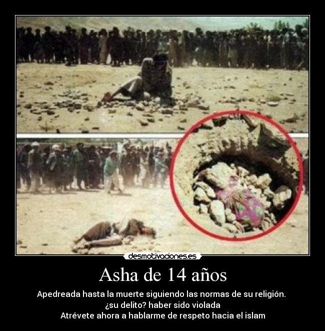 carteles dilapidacion nina anos injusticia muerte respeto islam religion moro delito violada desmotivaciones