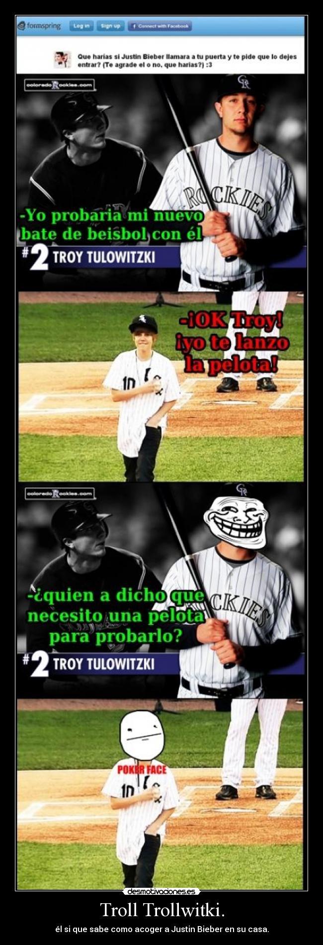 carteles troy baseball troll justin bate desmotivaciones