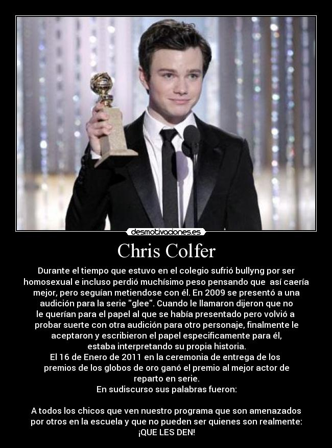 carteles chris colfer glee homosexual gay desmotivaciones