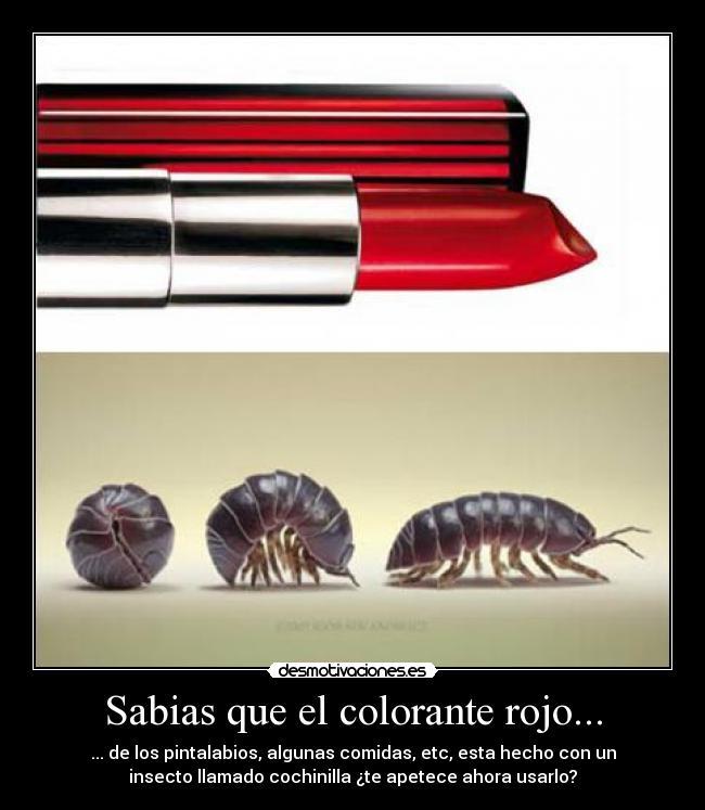 Sabias que el colorante rojo... | Desmotivaciones
