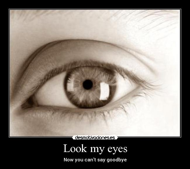 Look my eyes - Now you cant say goodbye