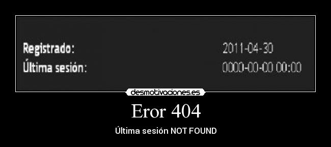 Eror 404 - Última sesión NOT FOUND