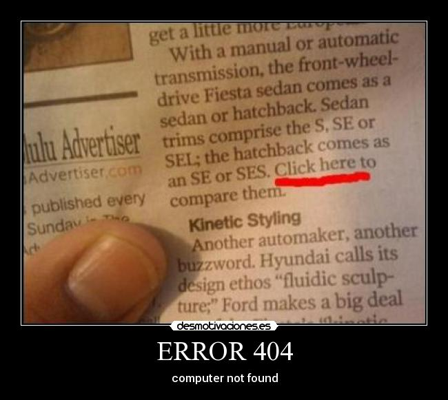 ERROR 404 - computer not found