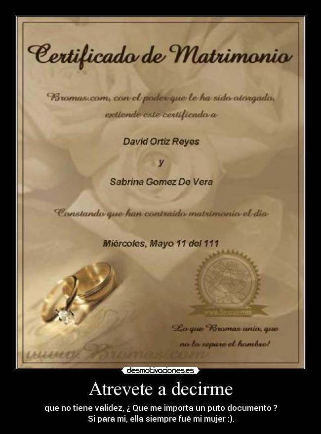 Certificado De Matrimonio Catolico : Imágenes y carteles de casados pag desmotivaciones
