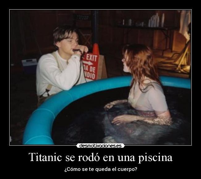 carteles titanic piscina fake mierda desmotivaciones