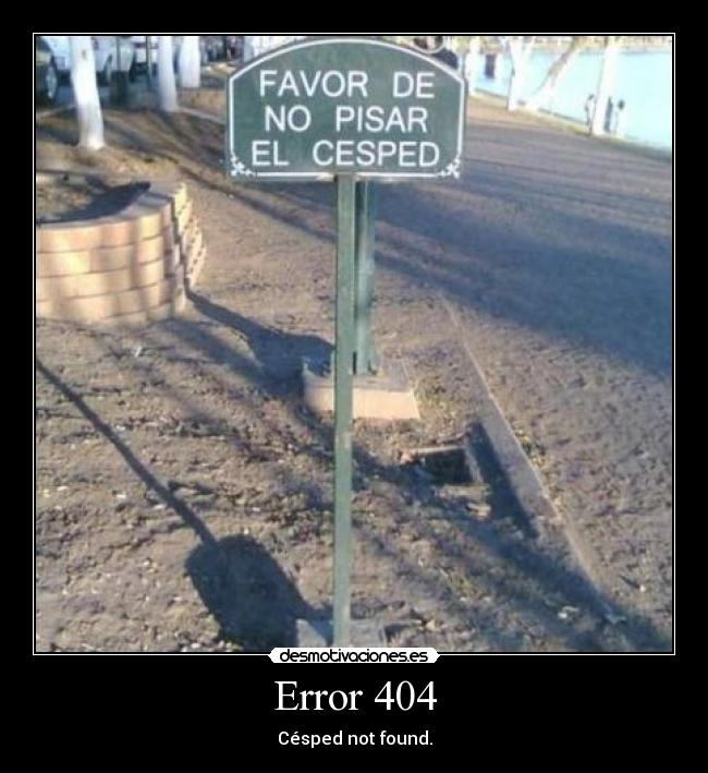 Error 404 - Césped not found.