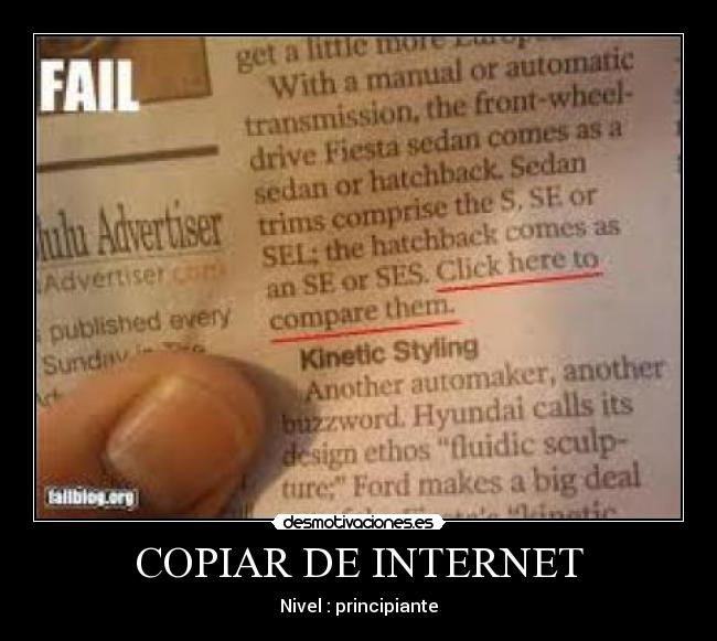 COPIAR DE INTERNET - Nivel : principiante