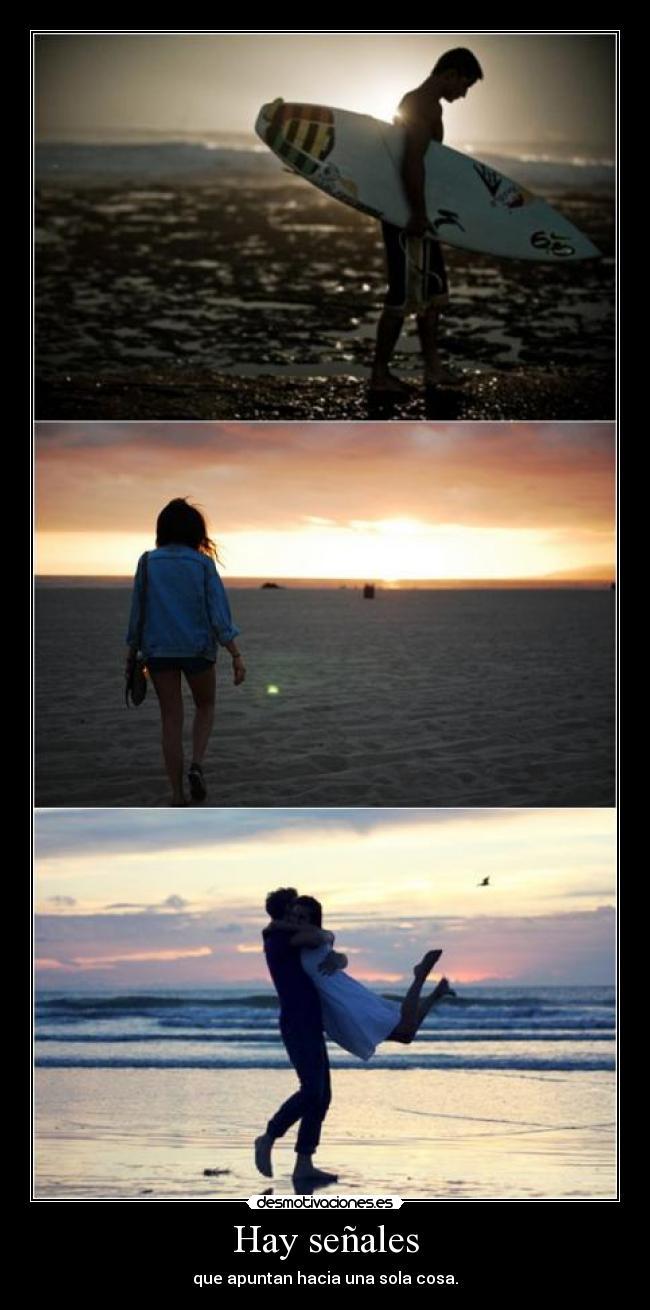 carteles senales amor playa beach pareja novios mar arena surf tabla desmotivaciones