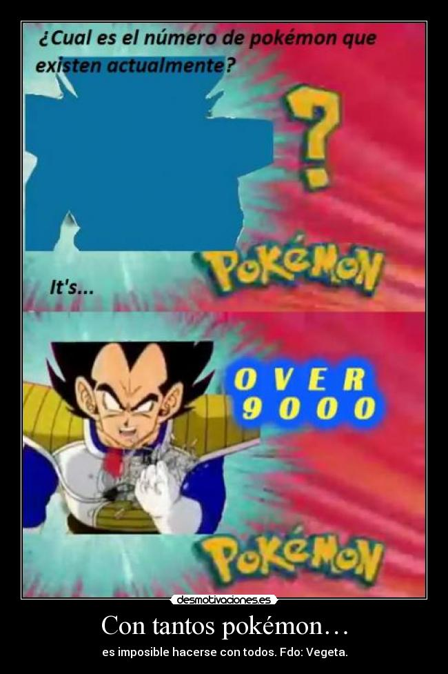 carteles pokemon vegeta its over nine thousand desmotivaciones