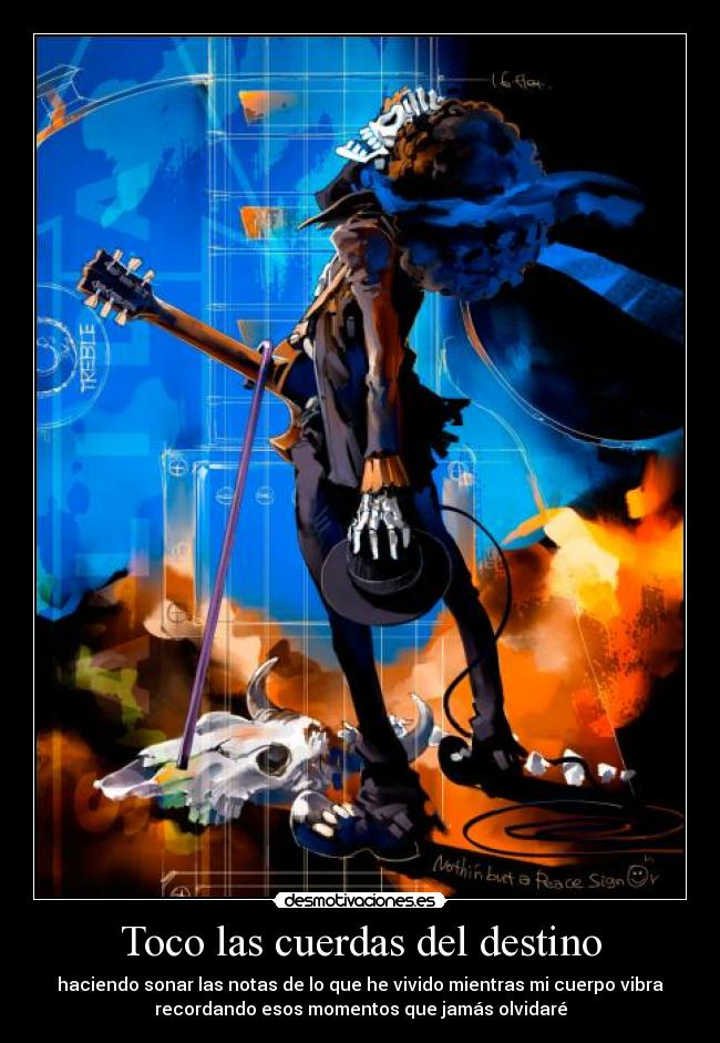 carteles destino brook guitarra calavera musica one piece desmotivaciones