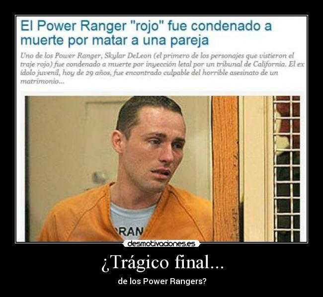 ¿Trágico final... - de los Power Rangers?