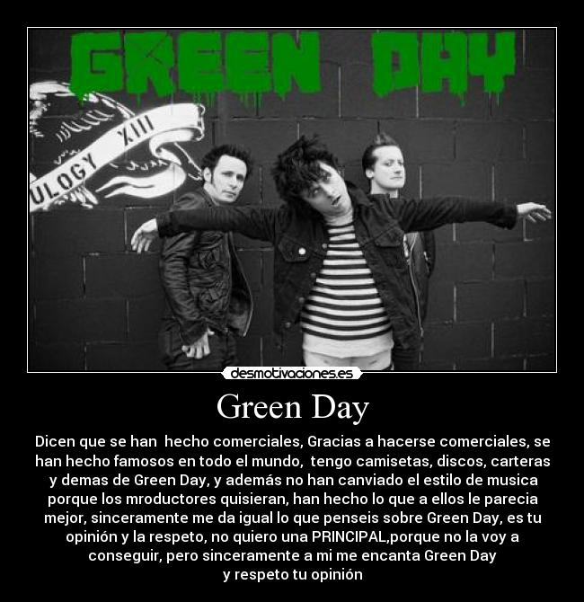 carteles green day billie joe mike dirnt tre cool jeff matika jason white jason freesse freese borja girona desmotivaciones