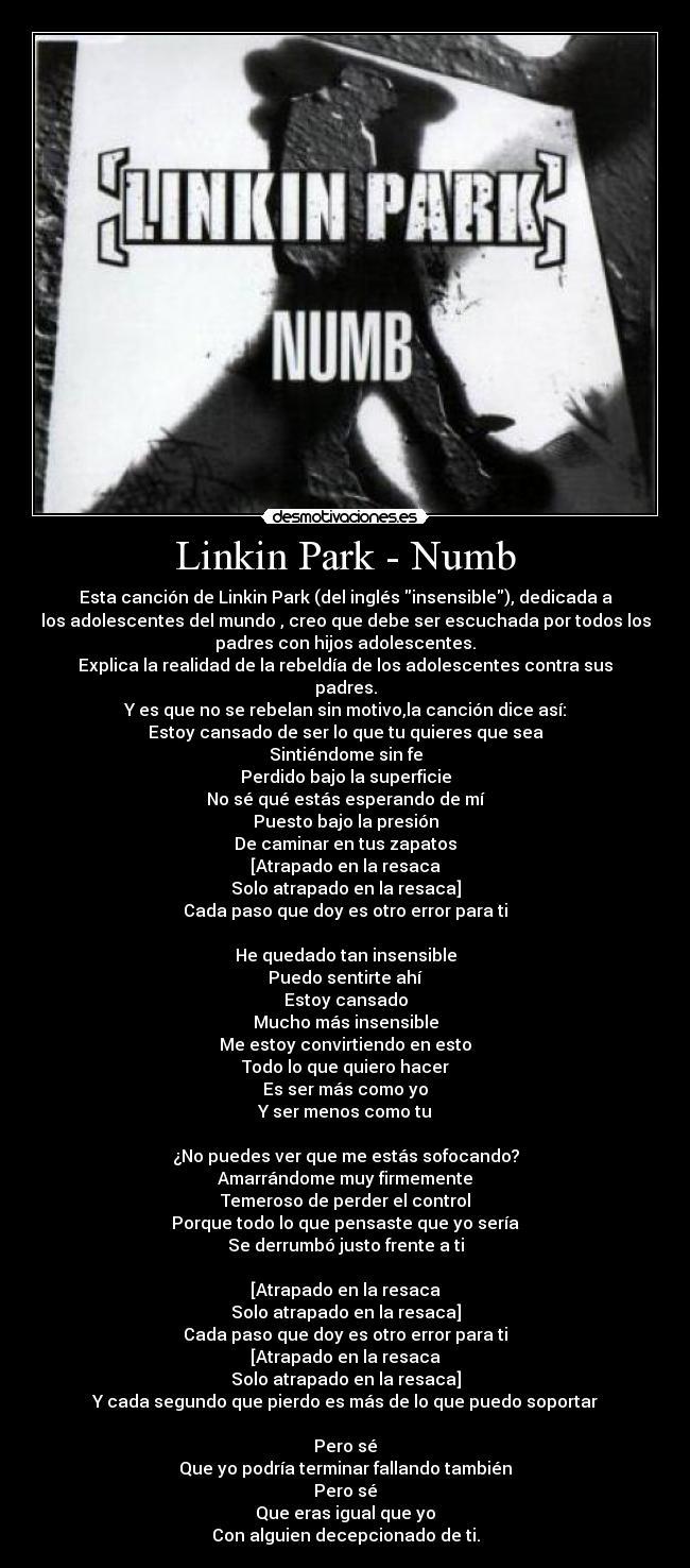 likin park letra de sus cancion: