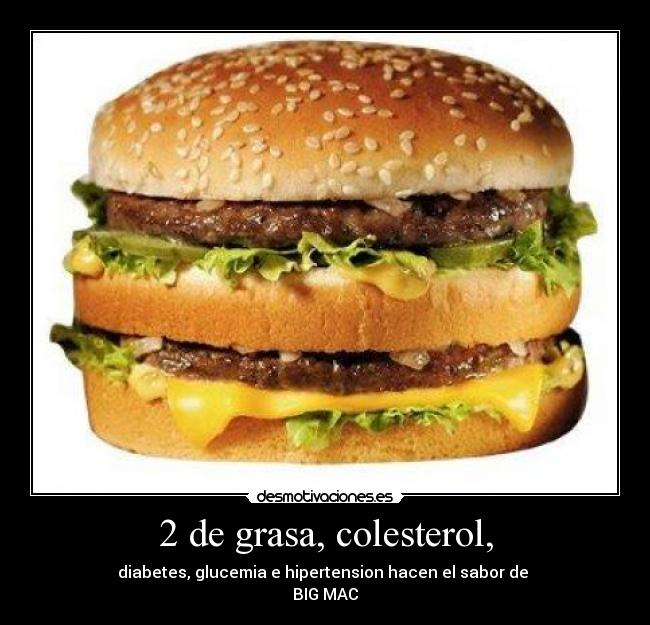 2 de grasa, colesterol, - diabetes, glucemia e hipertension hacen el sabor de  BIG MAC