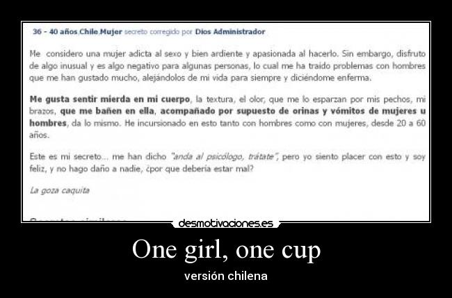 One girl, one cup - versión chilena