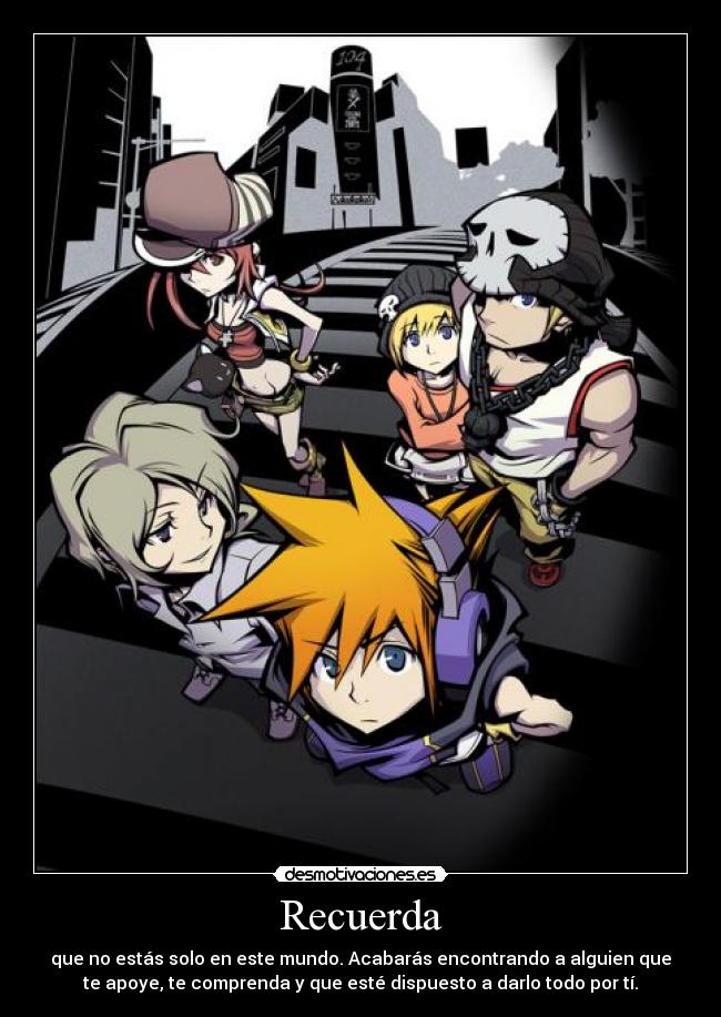 carteles amigos the world ends with you neku beat shiki rhyme joshua desmotivaciones