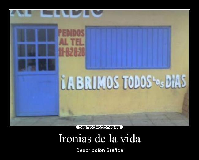 Ironias de la vida - Descripciòn Grafica