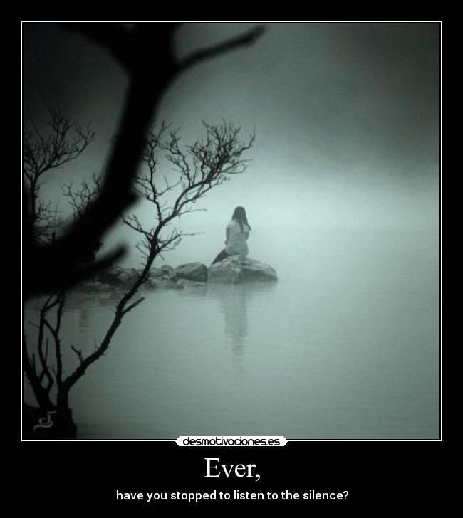 Ever, - have you stopped to listen to the silence?