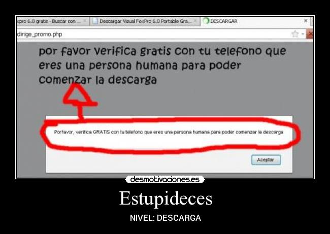 Estupideces - NIVEL: DESCARGA