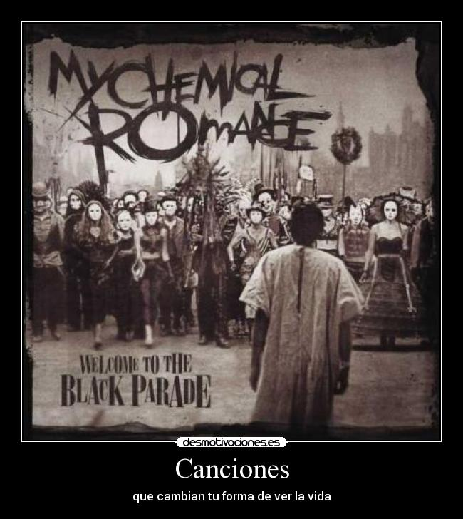 carteles welcome the black parade chemical romance gerard way ray toro mikey way bob bryar desmotivaciones