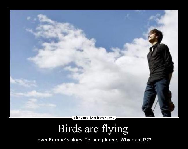 Birds are flying  - over Europe´s skies. Tell me please:  Why cant I???