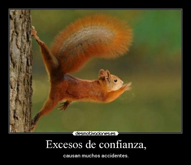 Excesos de confianza, - causan muchos accidentes.