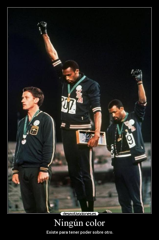 carteles photo black power - mexico olympics 1968 cada color tiene una esencia clanvirus desmotivaciones