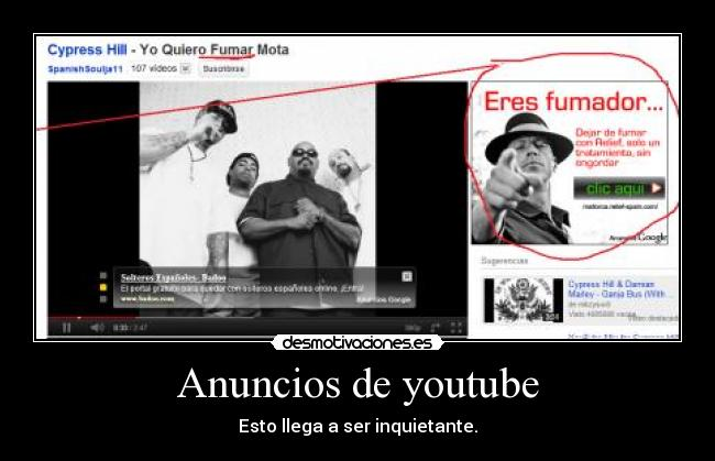 carteles youtube fumar mota cypress hill desmotivaciones