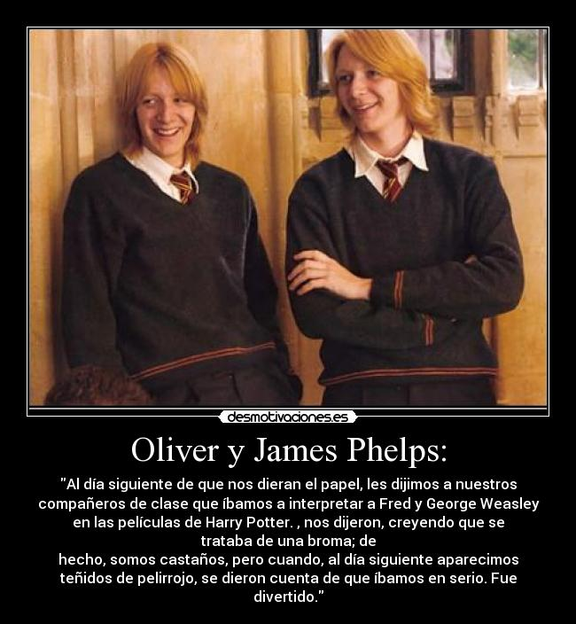 carteles fred george weasley oliver james phelps harry potter desmotivaciones