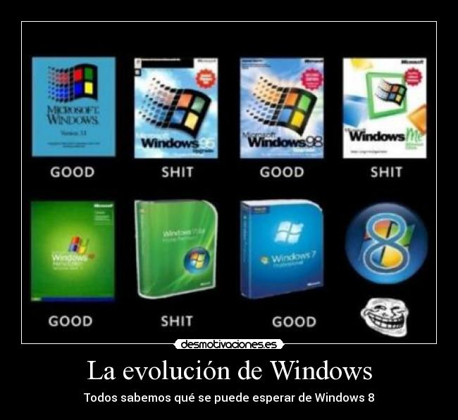 carteles evolucion windows desmotivaciones