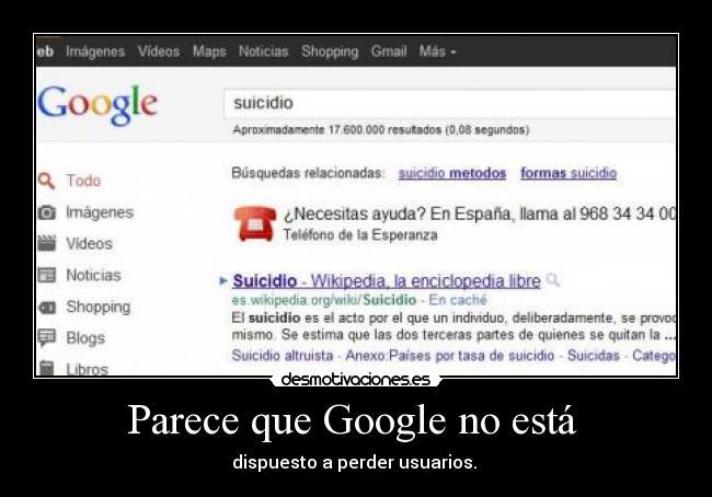 carteles google numero esperanza ayuda suicidio desmotivaciones