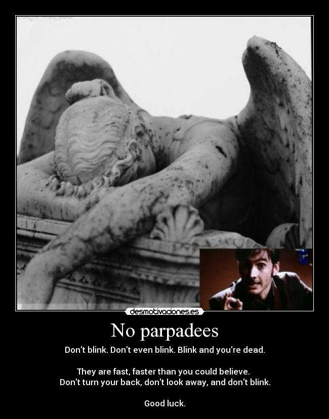 No parpadees - Dont blink. Dont even blink. Blink and youre dead.  They are fast, faster than you could believe.  Dont turn your back, dont look away, and dont blink.  Good luck.