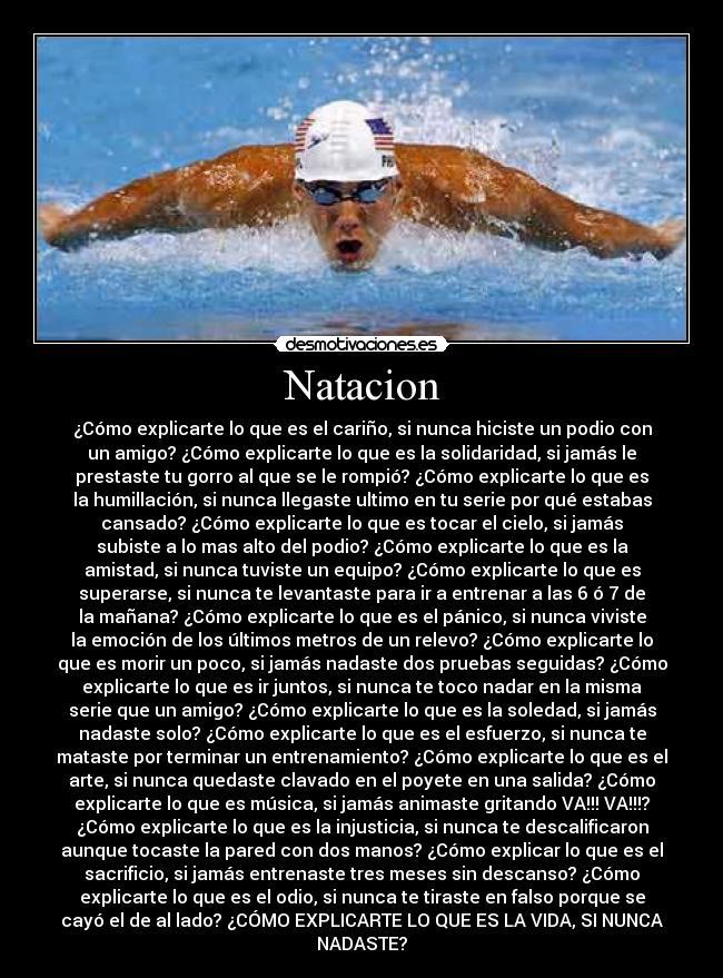carteles natacion swim phelps mariposa swim swimmer nadador agua desmotivaciones